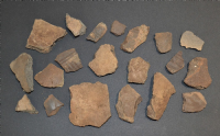 A group of 20 x assorted shards of rare Early Anglo Saxon Pagan period pottery, some decorated, from Lackford, Suffolk. (Lot 1) SOLD